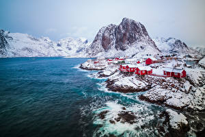 Images Norway Mountains Coast Lofoten Snow Cities