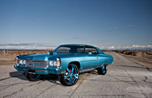 Wallpaper Chevrolet Tuning Retro Sky Light Blue 1971 Impala Cali swagger Cars