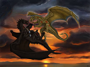 Wallpapers Dragon Battles Two Wings Fantasy
