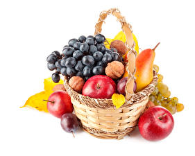 Pictures Fruit Apples Grapes Pears Plums Wicker basket