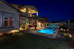 Pictures Houses Villa Pools Night Lawn Cities
