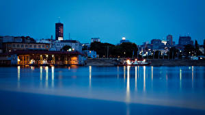 Wallpaper Building Rivers Berth Belgrade Serbia Night Cities