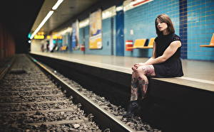 Wallpapers Railroads Tattoos Legs Brown haired Sitting Girls