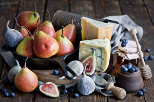 Wallpapers Still-life Pears Ficus carica Cheese Blueberries Jar Food