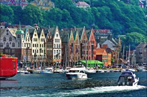 Image Norway Houses Rivers Motorboat Bergen Cities