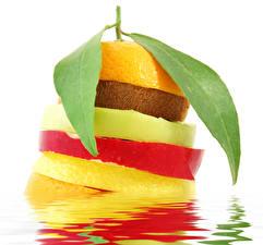 Bilder Obst Äpfel Kiwifrucht Apfelsine Blattwerk Lebensmittel