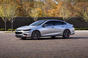 Wallpapers Chevrolet Tuning Silver color Side 2015 Malibu Red Line Series auto
