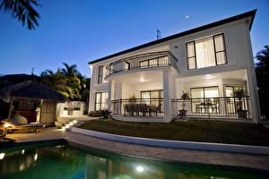 Wallpaper Building Villa Design Pools Night Cities