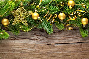 Fotos Feiertage Neujahr Stern Kugeln Ast Fichten