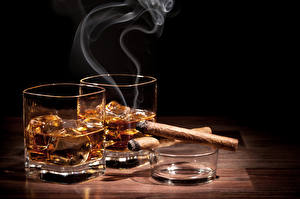 Pictures Drink Shot glass Two Smoke Cigar Food