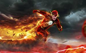 Pictures Fire The Flash 2014 TV series The Flash hero Lightning Fan ART Barry Allen Professor Zoom Reverse-Flash Eobard Thawne Fantasy