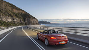 Wallpaper BMW BMW Z4 Roads Coast Riding Convertible Wine color automobile