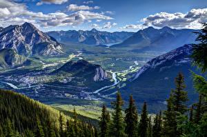 Image Scenery Canada Parks Mountain HDRI Banff Spruce Clouds Nature