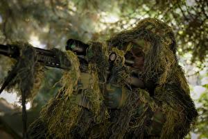 Bureaubladachtergronden Scherpschuttersgeweer Sluipschutter Camouflage