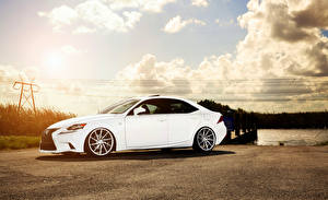 Wallpaper Lexus Sky White Side Clouds IS F-sport auto