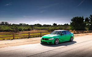 Wallpapers BMW Sky Green Fence m3 green f80 Cars