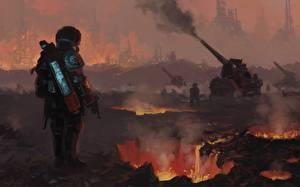 Bilder Soldat Kanone Lava Basilisk battery Fantasy
