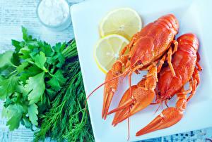 Images Seafoods Crayfish Dill Lemons 2 Food