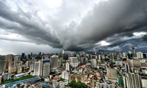 Sfondi desktop Thailandia Edificio Bangkok Megalopoli Nuvole Città
