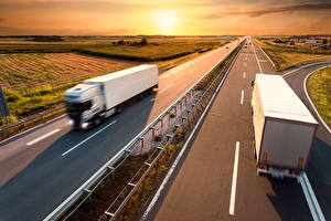 Wallpapers Trucks Roads Sunrises and sunsets Motion White auto