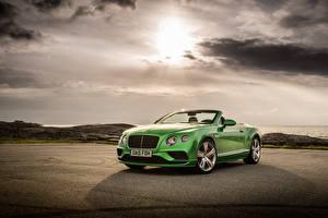 Hintergrundbilder Bentley Cabrio Grün Luxus 2015 Continental GT Speed Convertible auto