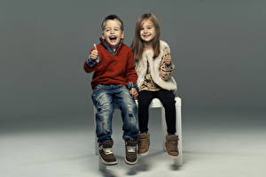 Photo Little girls Boys 2 Boots Sweater Jeans Smile Children