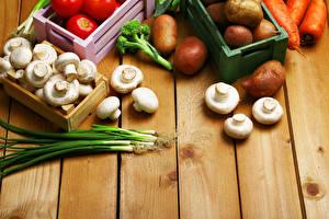 Fotos Gemüse Pilze Zwiebel Kartoffel Zucht-Champignon Frühlingszwiebel Bretter