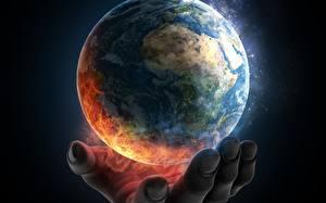 Bureaubladachtergronden Planeten Aarde Handen Fantasy Ruimte