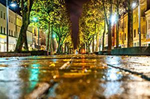 Fotos Litauen Kaunas Straße Gehweg Nacht Straßenlaterne Allee