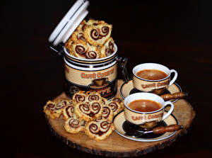 Picture Pastry Coffee Buns Cup Two Food