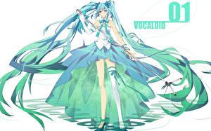 Tapety na pulpit Vocaloid Hatsune Miku Wlosy Mikrofon Dziewczyny