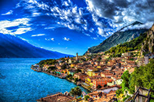 Images Italy Coast Building Mountain Lake Sky Sorrento HDR Clouds Cities
