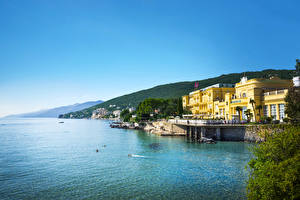 Photo Croatia Houses Lake Scenery Mountains Sky Sea Opatija Cities Nature