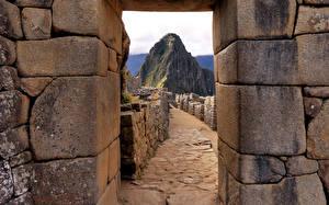 Fotos Peru Ruinen Steine Felsen Machu Picchu Natur