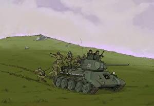 Bilder Panzer Soldaten Gezeichnet T-34 T-34-76 Heer