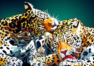 Photo Vector Graphics Leopard Painting Art 2 Animals