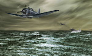 Photo Airplane Aircraft carrier Sea Painting Art The VB-6 pilots from the USS Enterprise during the Battle of Midway on June 4, 1942 Aviation