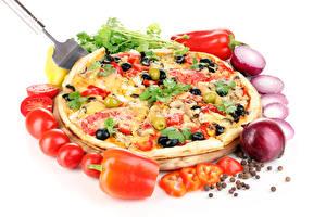 Bilder Fast food Pizza Tomaten Zwiebel Paprika Lebensmittel