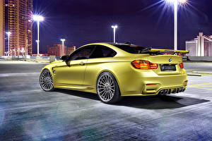 Image BMW Night time Back view Gold color 2014 Hamann M4 F82 auto