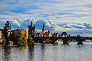 Wallpaper Prague Czech Republic Building Rivers Bridges Ship Charles Bridge HDRI Clouds Cities