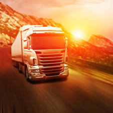 Pictures Lorry Sunrises and sunsets White Motion automobile