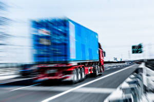 Wallpaper Lorry Driving Back view Truck motion blur Cars