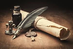 Bilder Federn Großansicht Brief letter parchment wax seal