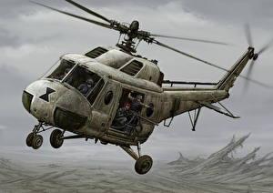 Fotos Hubschrauber Gezeichnet Mi-2 version Luftfahrt