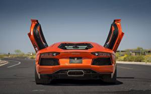 Photo Lamborghini Orange Back view Luxury aventador lp700-4 automobile