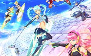 Tapety na pulpit Vocaloid Hatsune Miku Wlosy Dziewczyny