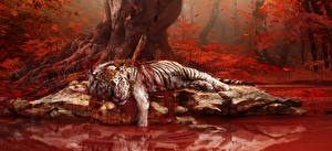 Pictures Far Cry 4 Tigers Blood vdeo game Fantasy Animals