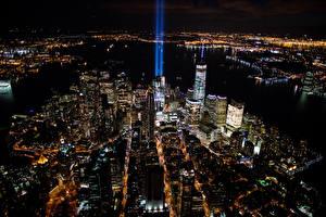 Fotos Vereinigte Staaten Haus New York City Megalopolis Nacht Von oben Städte