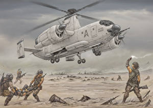 Bilder Hubschrauber Soldat Gezeichnet Fairey Rotodyne Luftfahrt