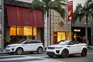 Photo Range Rover White Metallic 2 Cabriolet Street 2015 Range Rover Evoque convertible automobile